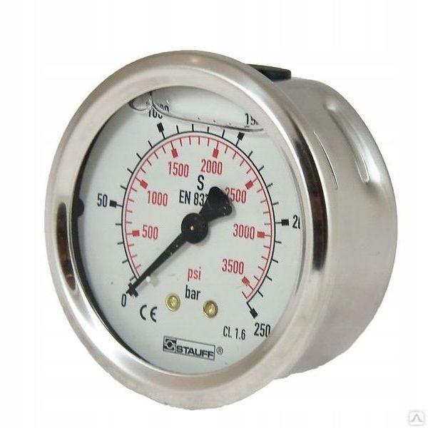 Манометр для АВД, 250bar, 1/4внеш, нерж.сталь